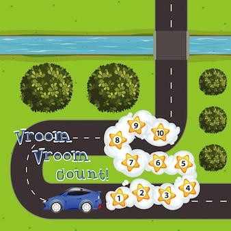 Modelo de jogo com carro e números na estrada