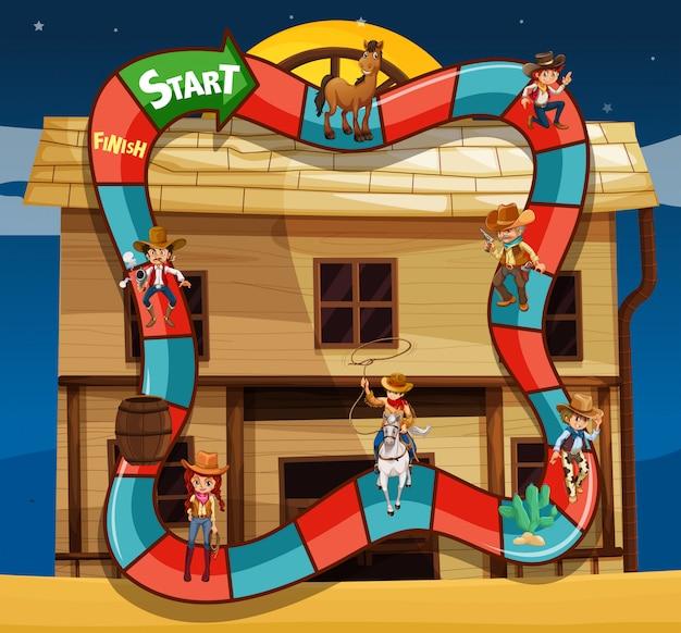 Modelo de jogo com cowboys e construção