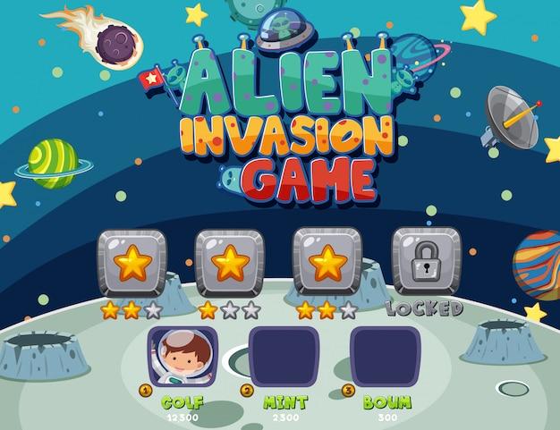Modelo de jogo com invasão alienígena no espaço