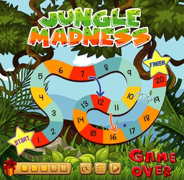 Modelo de jogo com número labirinto e floresta de fundo