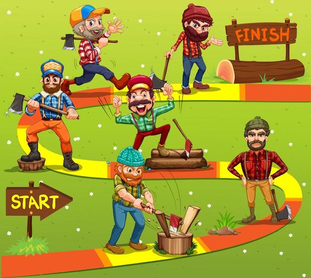 Modelo de jogo com personagens de madeira serrada