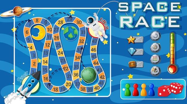 Modelo de jogo de cobra e escadas com tema espacial