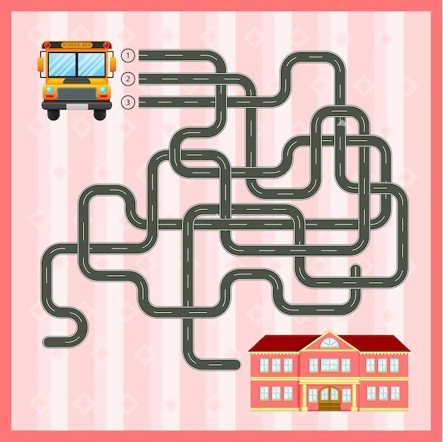 Modelo de jogo de labirinto com ônibus escolar Vetor Premium