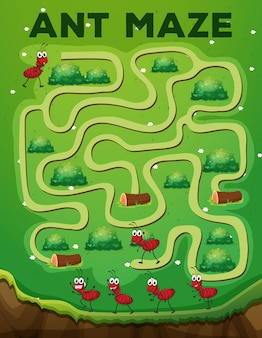 Modelo de jogo de labirinto de formiga