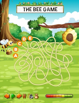 Modelo de jogo de labirinto de labirinto de abelha