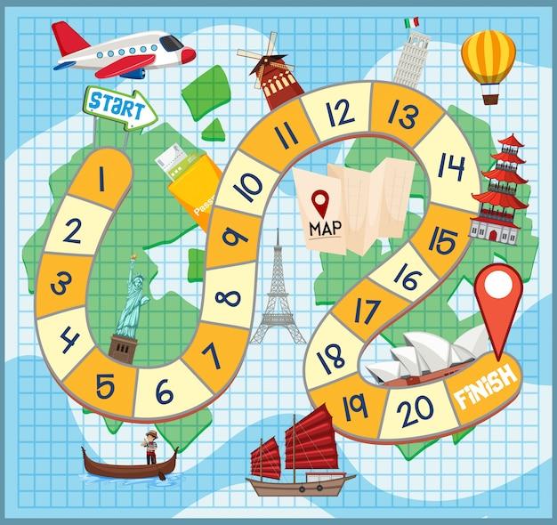 Modelo de jogo de labirinto de viagem