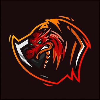 Modelo de jogo de logotipo de mascote de fogo de dragão