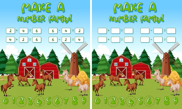 Modelo de jogo de matemática de fazenda com cavalos e objetos de fazenda