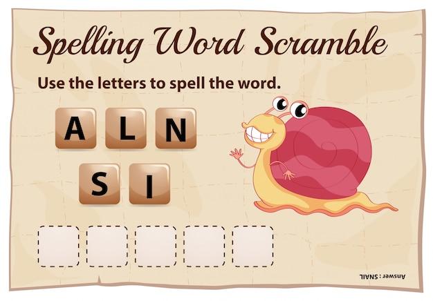 Modelo de jogo de ortografia palavra scramble para caracol