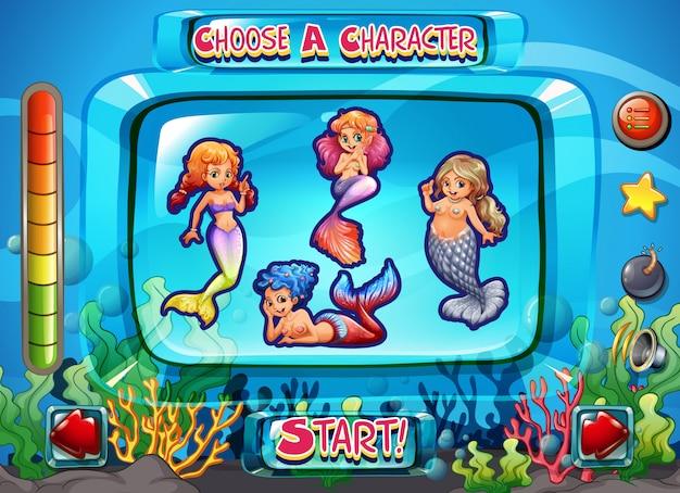 Modelo de jogo de página de personagem