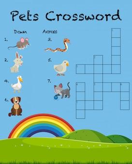 Modelo de jogo de palavras cruzadas de animal de estimação