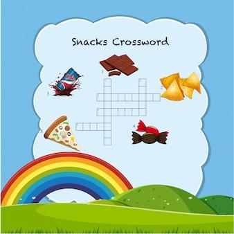 Modelo de jogo de palavras cruzadas de lanche
