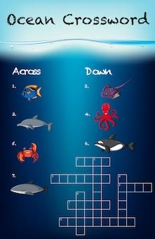 Modelo de jogo de palavras cruzadas do oceano