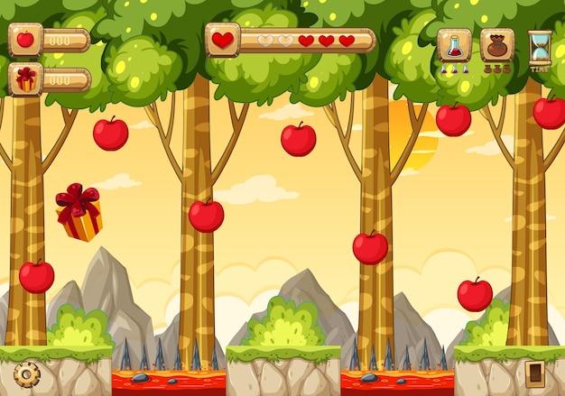 Modelo de jogo de plataforma para coleta de maçãs