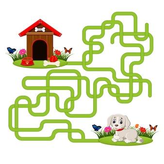 Modelo de jogo de quebra-cabeça com cachorro e casa de cachorro