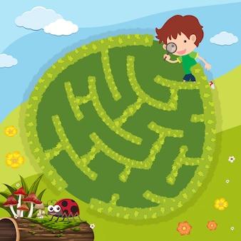 Modelo de jogo de quebra-cabeça com garoto e bug