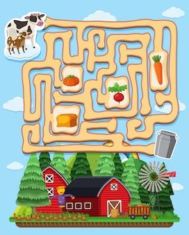 Modelo de jogo de quebra-cabeça com vacas e celeiros
