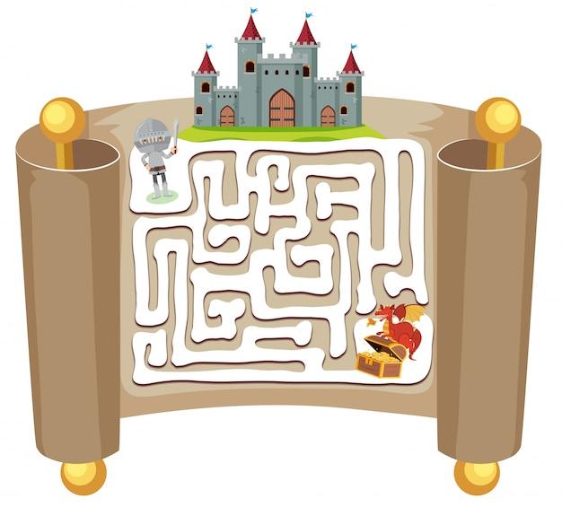 Modelo de jogo de quebra-cabeça de labirinto de cavaleiro