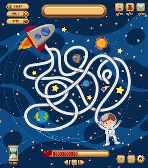 Modelo de jogo de quebra-cabeça de labirinto de espaço