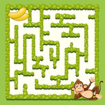 Modelo de jogo de quebra-cabeça de labirinto de macaco