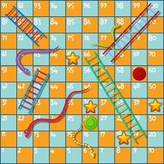 Modelo de jogo de tabuleiro com cobras e escada