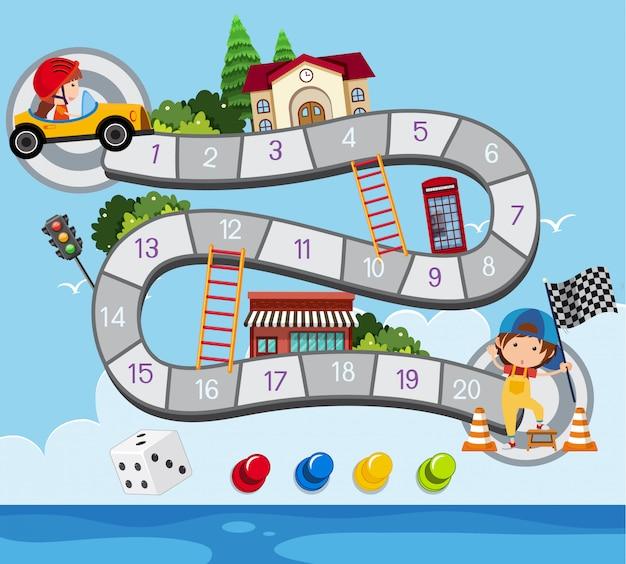 Modelo de jogo de tabuleiro com criança em carro de corrida