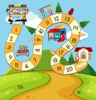 Modelo de jogo de tabuleiro com crianças e parque infantil
