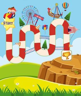 Modelo de jogo de tabuleiro com crianças no circo