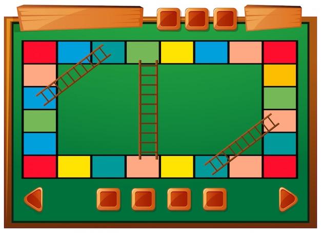 Modelo de jogo de tabuleiro com escadas e blocos