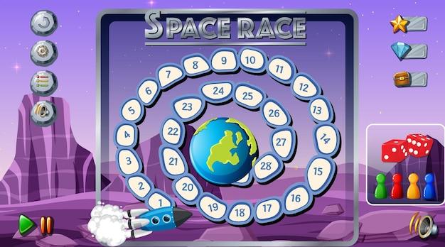 Modelo de jogo de tabuleiro com tema espacial