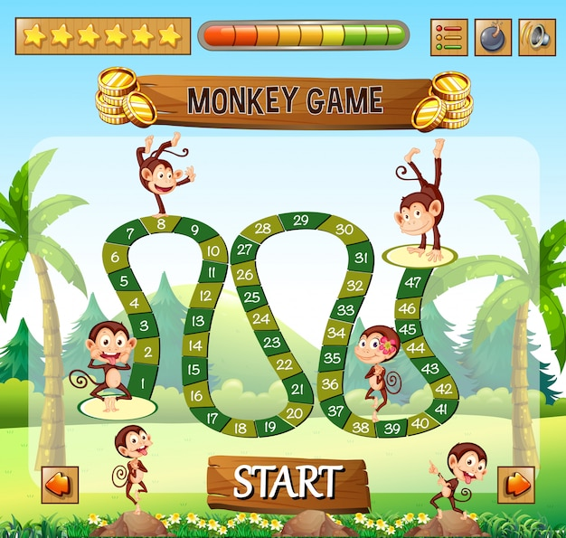 Modelo de jogo de tabuleiro de macaco