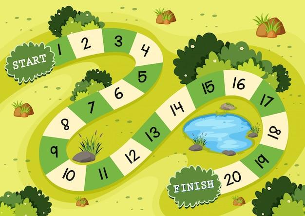 Modelo de jogo de tabuleiro de natureza verde simples