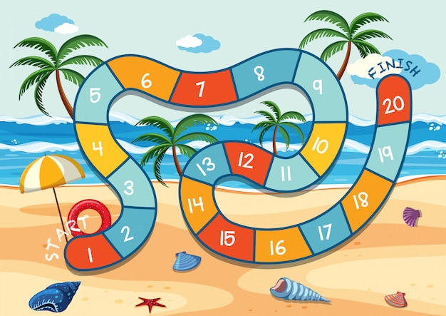 Modelo de jogo de tabuleiro de praia de verão