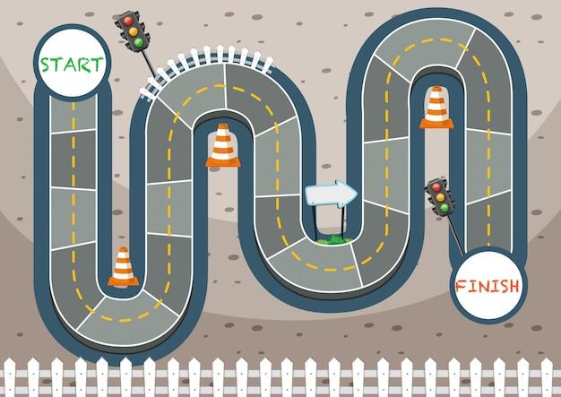 Modelo de jogo de tabuleiro de tráfego de estrada de corrida