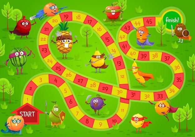 Modelo de jogo de tabuleiro infantil, jogo de tabuleiro em etapas com caminho de blocos, números, início, término e frutas de desenho animado