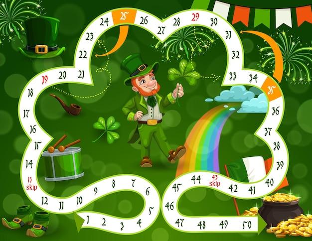 Modelo de jogo de tabuleiro infantil tema do dia de são patrício