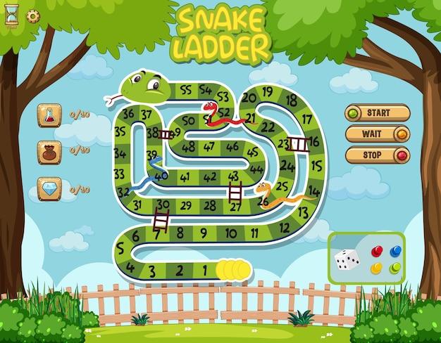 Modelo de jogo de tabuleiro snake ladder para crianças