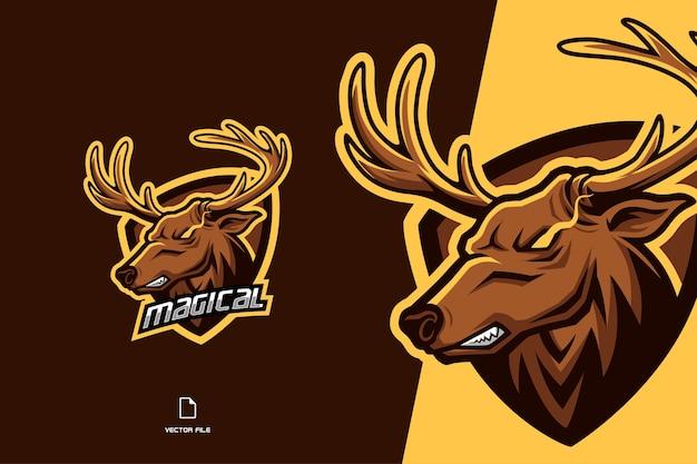 Modelo de jogo esport com logotipo de mascote de veado