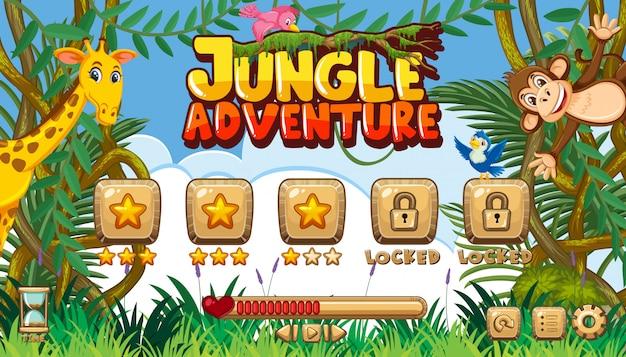 Modelo de jogo para aventura na selva com muitos animais na selva
