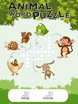 Modelo de jogo para quebra-cabeça de palavras de animais