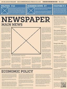 Modelo de jornal diário de negócios com uma página