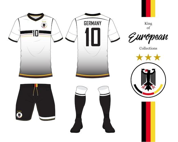 Modelo de kit de futebol ou jersey de futebol da alemanha