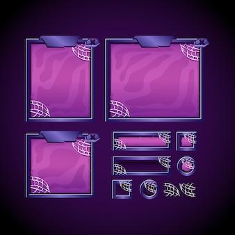 Modelo de kit de interface do usuário de jogo assustador de halloween com painel e botão