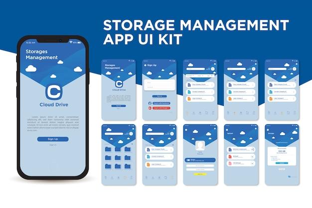 Modelo de kit de interface do usuário do aplicativo cloud management storage app