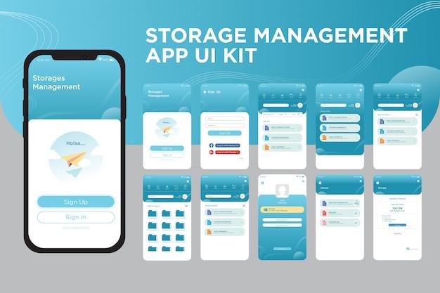 Modelo de kit de interface do usuário do aplicativo de gerenciamento de armazenamento