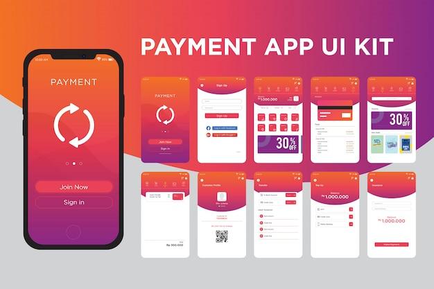 Modelo de kit de interface do usuário do aplicativo de pagamento