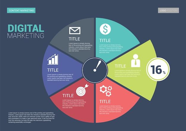 Modelo de lado infográfico marketing digital. tamanho da escala a5.