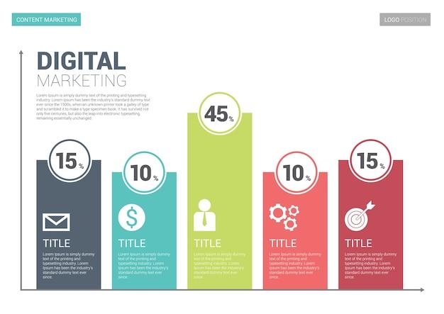 Modelo de lado infográfico marketing digital