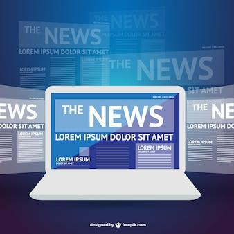 Modelo de laptop notícia vetor