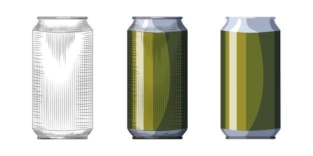 Modelo de lata de cerveja desenhada de mão. lata de bebidas verde isolada no fundo branco.